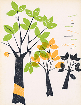 AIG contact cover June 1955 showing three artistic trees